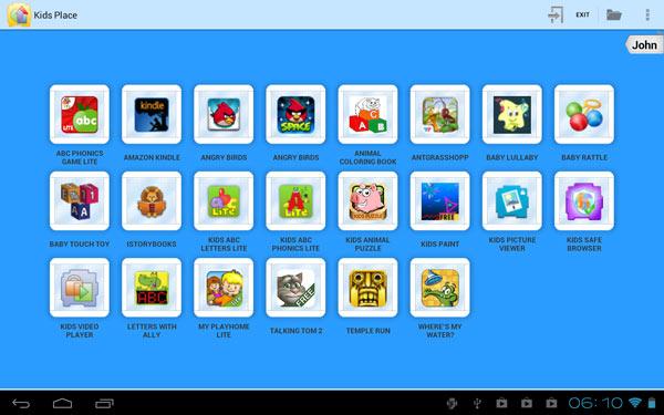 Kids Place per Android, schermata