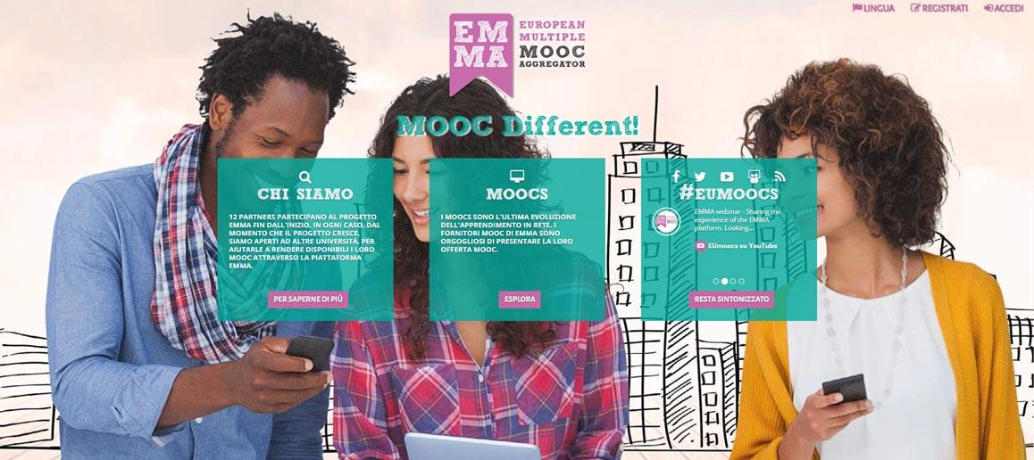 homepage EMMA, piattaforma MOOC europea
