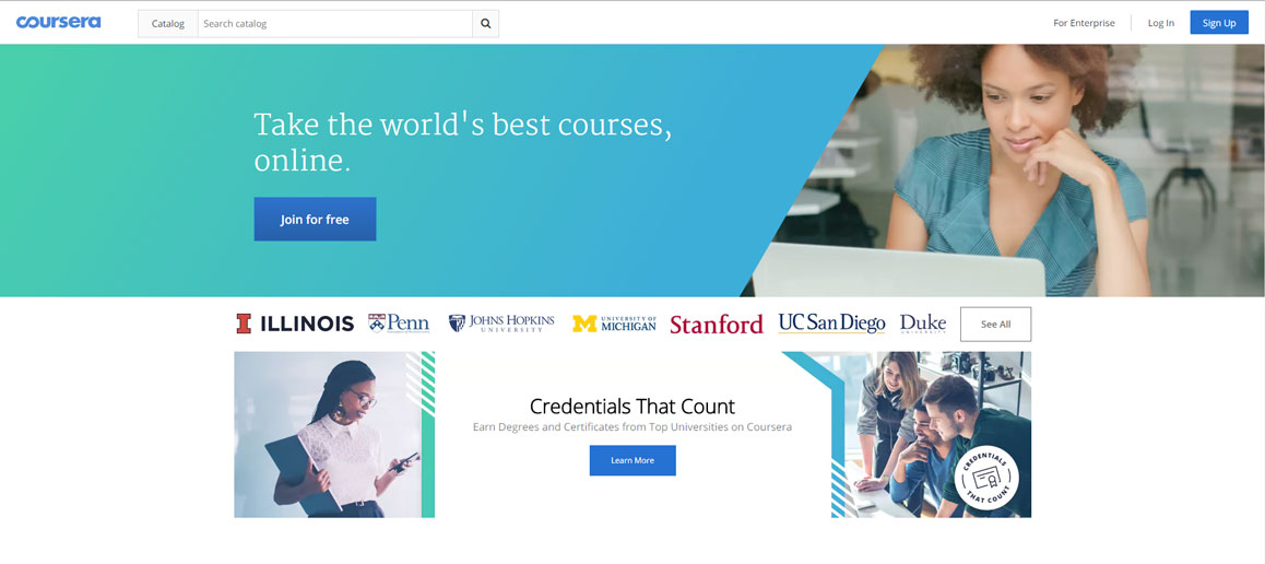 Homepage Coursera, piattforma per MOOC in inglese