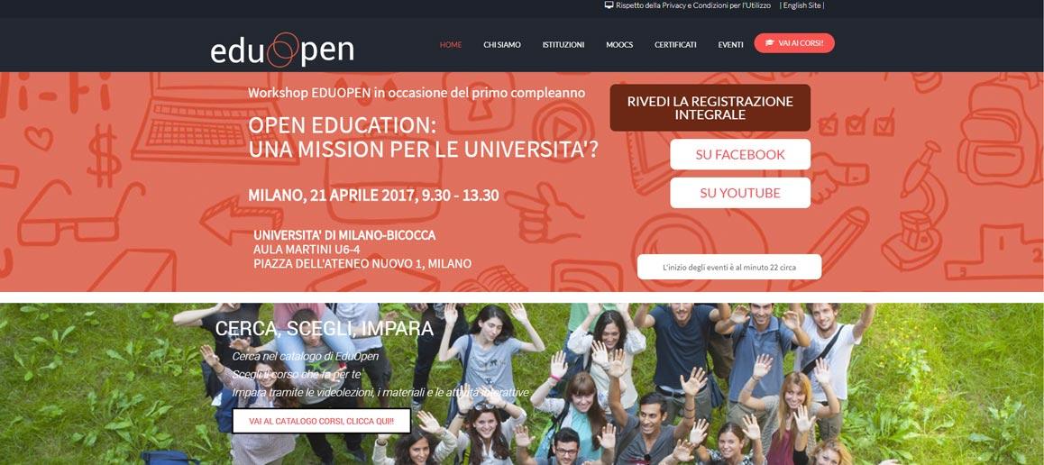 homepage eduopen, piattaforma MOOC italiana