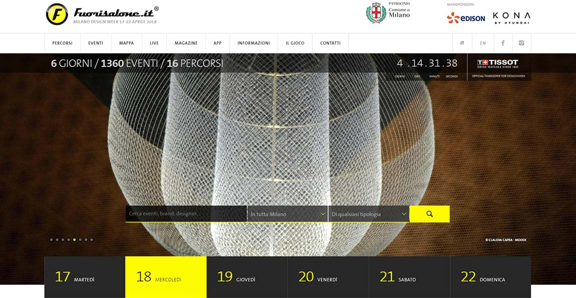 homepage del sito del Fuorisalone 2018